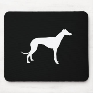 Black and White Shape of Greyhound Mouse Mat