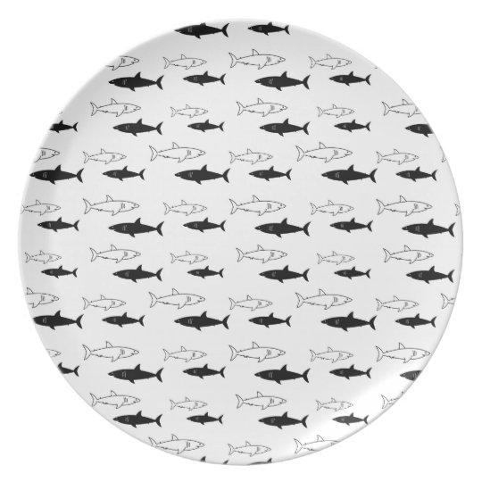 Black and White Shark Pattern Melamine Plate