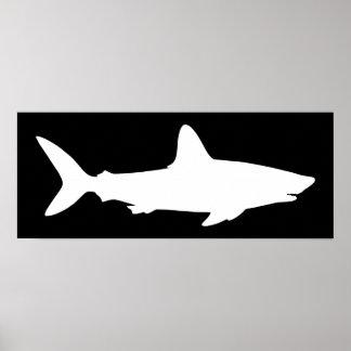 Black and White Shark Poster