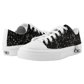 Black and white shiny glitter sparkles low tops