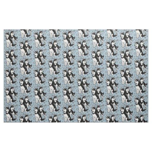 Black and White Siberian Huskies fabric
