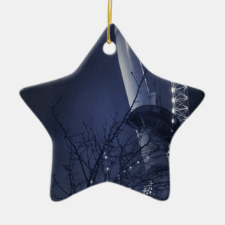 Black and white side of london eye ceramic star decoration