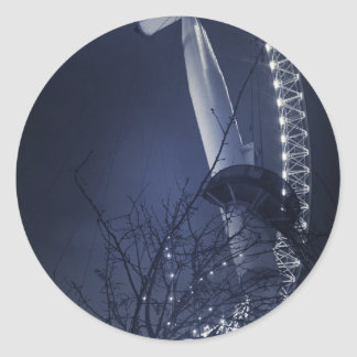 Black and white side of london eye round sticker