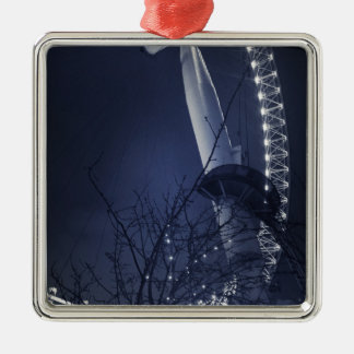 Black and white side of london eye Silver-Colored square decoration