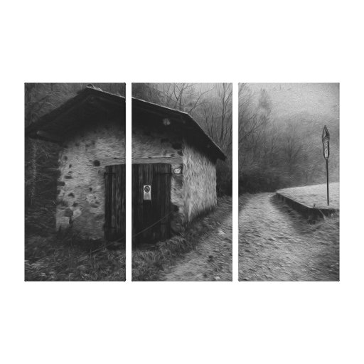 Black and White Silent Hill Oil Painting Canvas Stretched Canvas Prints