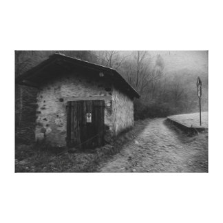 Black and White Silent Hill Oil Painting Canvas Stretched Canvas Print