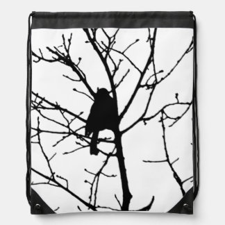 Black and White Silhouette of chickadee in a tree Drawstring Bag