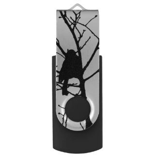 Black and White Silhouette of chickadee in a tree Swivel USB 2.0 Flash Drive