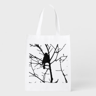 Black and White Silhouette of chickadee in a tree Grocery Bag