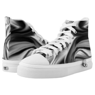 Black and White Silk Folds High Tops
