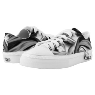 Black and White Silk Folds Low Tops