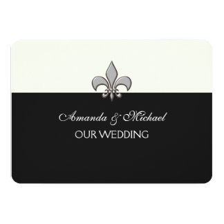 Black and White Silver Fleur de Lis Save the Date Custom Announcements