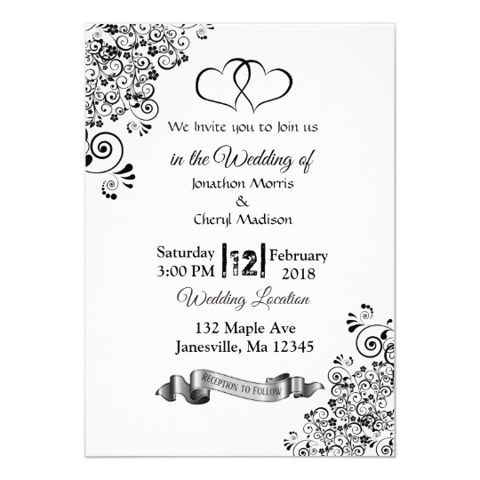 Black and White Simple Hearts Wedding Invitations