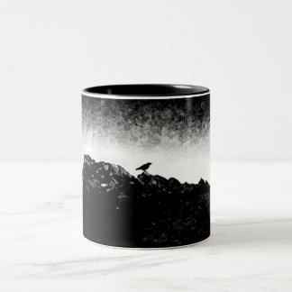 Black and white Sitting Crow Two-Tone Coffee Mug