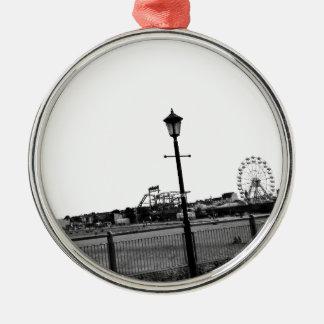 Black and white Skegness pier Christmas Ornament