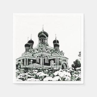 Black and White Sketch Church Paper Napkin