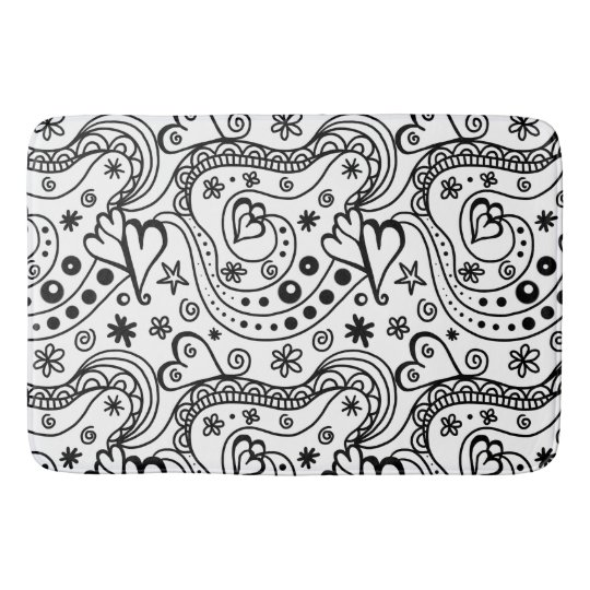 Black and White Sketch Doodle Art Heart Pattern