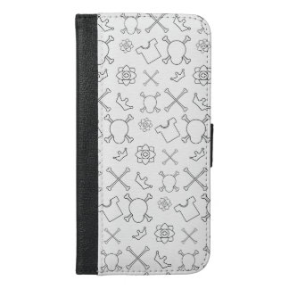 Black and white Skull and Bones pattern iPhone 6/6s Plus Wallet Case