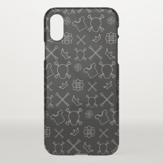 Black and white Skull and Bones pattern iPhone X Case
