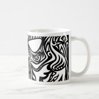 Black and white skull coffee mug