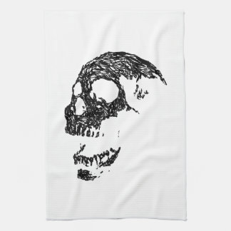 Black and White Skull Design. Tea Towel
