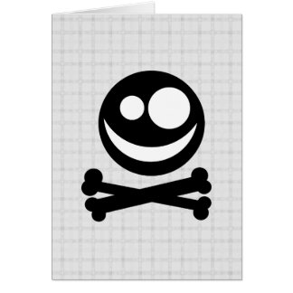 Black and White Skull. On Gray Check. Card