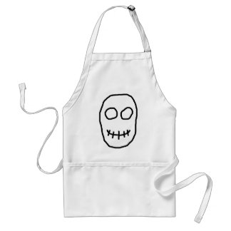 Black and White Skull. Primitive Style. Standard Apron