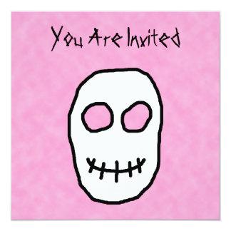 Black and White Skull. Primitive Style. 13 Cm X 13 Cm Square Invitation Card