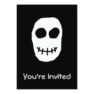 "Black and White Skull. Primitive Style. 5"" X 7"" Invitation Card"