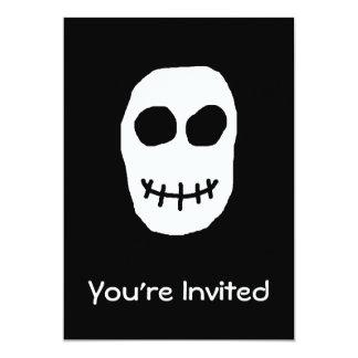Black and White Skull. Primitive Style. 13 Cm X 18 Cm Invitation Card