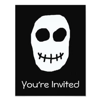 "Black and White Skull. Primitive Style. 4.25"" X 5.5"" Invitation Card"
