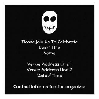 Black and White Skull Primitive Style Personalized Invitation