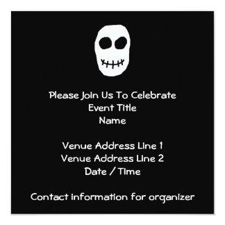 """Black and White Skull. Primitive Style. 5.25"""" Square Invitation Card"""