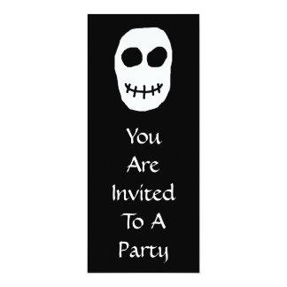 "Black and White Skull. Primitive Style. 4"" X 9.25"" Invitation Card"