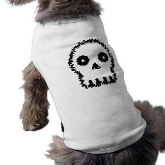 Black and white skull v6 dog tee shirt