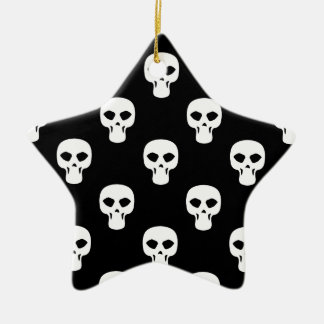 Black and White Skulls Pattern Ceramic Star Decoration