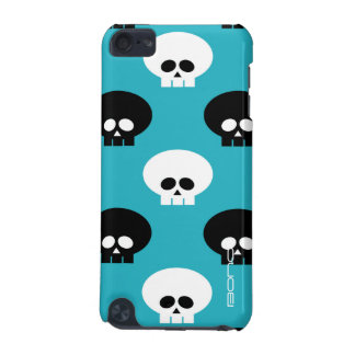 black and white skulls with name over blue iPod touch 5G cover