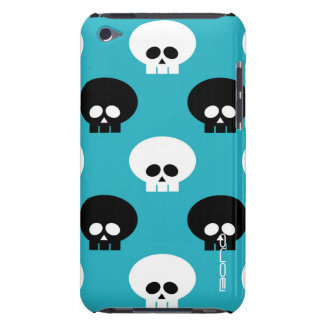 black and white skulls with name over blue iPod touch cover