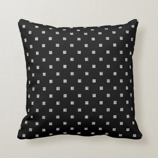 Black and White Small Geometrical Pattern Cushion