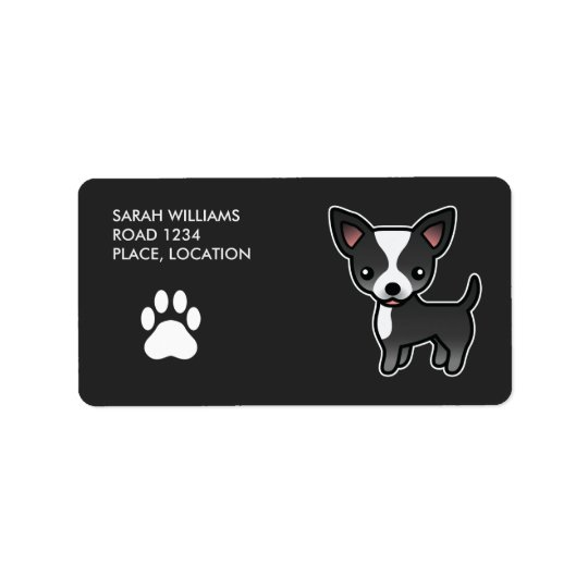 Black And White Smooth Coat Chihuahua Cartoon Dog Label