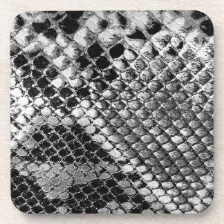 Black and White Snake Skin - Animal Print Coaster