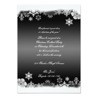 Black and White Snowflake Christmas Party Card