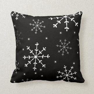 Black and White Snowflake Pillow