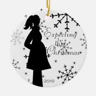 Black and White Snowflake Pregnancy Ornament