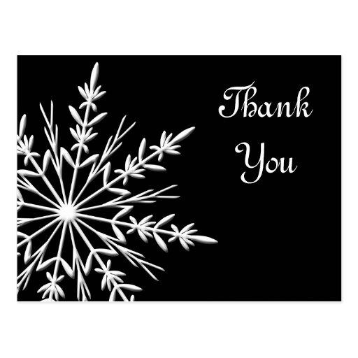 Black and White Snowflake Thank You Postcard