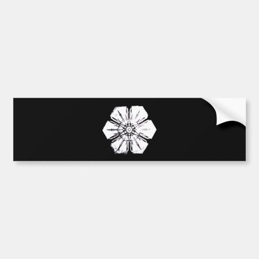 Black and White Snowflake that Resembles a Flower Bumper Sticker