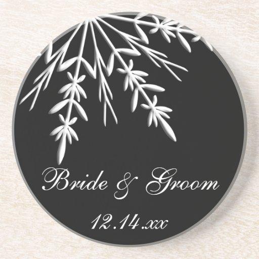 Black and White Snowflake Wedding Coaster