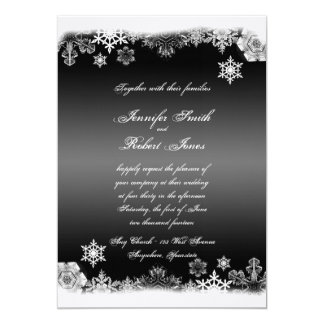 "Black and White Snowflake Wedding Invitation 5"" X 7"" Invitation Card"