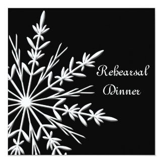 Black and White Snowflake Wedding Rehearsal Dinner Card