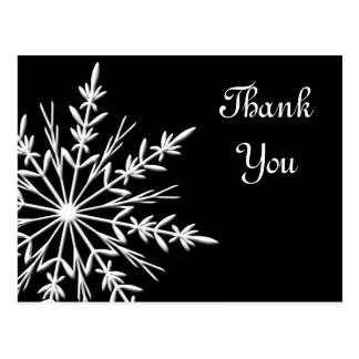 Black and White Snowflake Winter Thank You Postcard